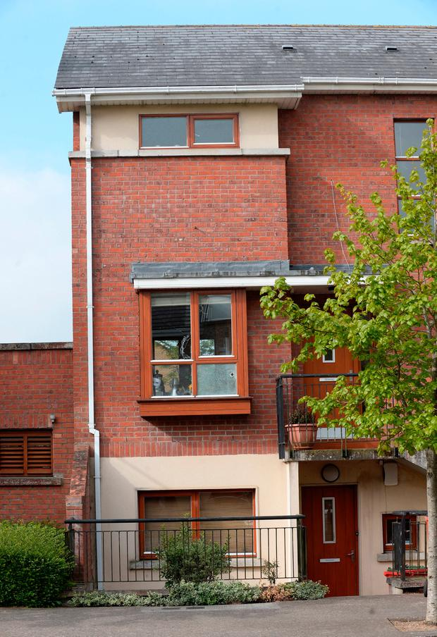 General view of damaged window panes of apartment on Fernleigh Drive, Castleknock, Dublin. Picture: Caroline Quinn