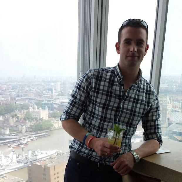 Daniel pictured at The Shard in London. He says life has become much better since he moved to the UK