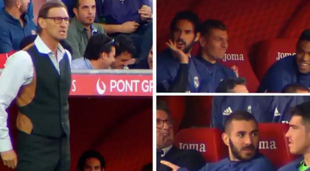 Isco heckles the Granada manager to the amusement of his Real Madrid teammates CREDIT: TWITTER TONY ADAMS MARCA