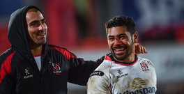 23 December 2016; Ulster's Charles Piutau, right, and Ruan Pienaar following their victory in the Guinness PRO12 Round 11 match between Ulster and Connacht at the Kingsman Stadium in Belfast. Photo by Ramsey Cardy/Sportsfile