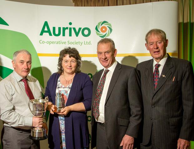 David Boland, Aurivo Milk Supplier of the year with his wife Kathleen Boland, Pat Duffy, Chairman of Aurivo and Special Guest Micheal O'Muircheartaigh at the Aurivo Milk Awards in The Radisson Hotel, Sligo.