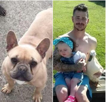 Cupcake (L) and Darren Macneill with his baby daughter and their pet duck (R)
