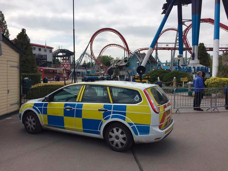 Handout photo taken with permission from the Twitter feed of David Charles @davecharlesF1 of a police vehicle at Drayton Manor Theme Park in Drayton Manor, Tamworth (PA)