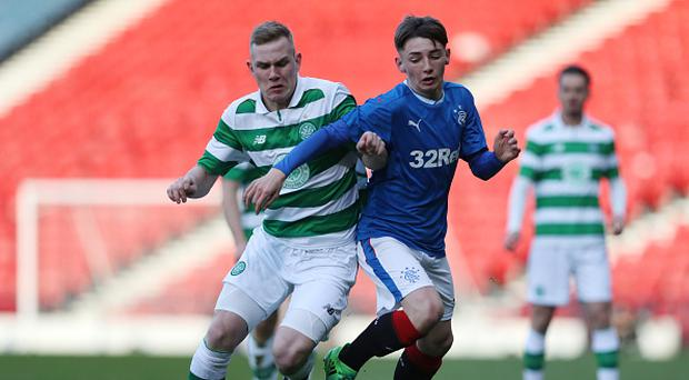 GLASGOW, SCOTLAND - APRIL 26: Mark Hill of Celtic vies with Billy Gilmour of Rangers during The Scottish FA Youth Cup Final between Celtic and Rangers at Hampden Park on April 26, 2017 in Glasgow, Scotland. (Photo by Ian MacNicol/Getty Images)