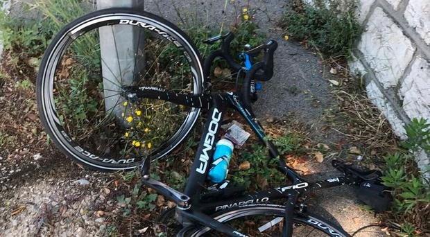 Chris Froome posted a picture of his bike on Twitter following yesterday's hit-and-run incident
