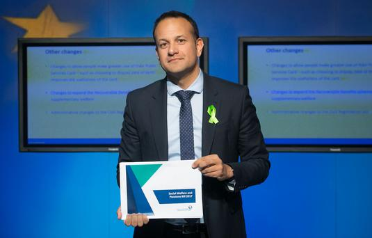 Minister for Social Protection Leo Varadkar TD at the publication of the Social Welfare and Pensions Bill 2017 at Government Buildings, Dublin. (Gareth Chaney, Collins)
