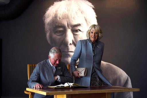 The Prince of Wales and the Duchess of Cornwall visit the Seamus Heaney HomePlace in Bellaghy, Co Derry Picture: REUTERS/Clodagh Kilcoyne