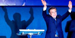 South Korea's president-elect Moon Jae-in thanks supporters at Gwanghwamun Square in Seoul, South Korea