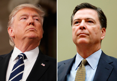 US President Donald Trump (L) fired FBI Director James Comey last night