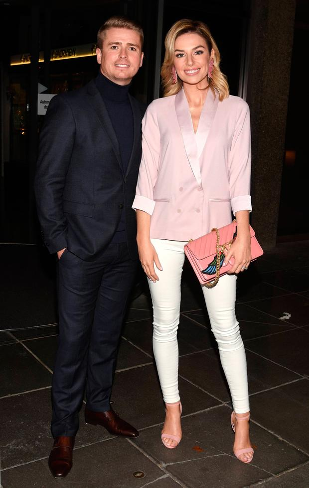 Brian Ormond and Pippa O'Connor outside the Late Late Show
