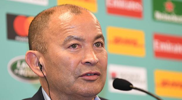 KYOTO, JAPAN - MAY 10: Eddie Jones head coach of England attends a press conference after the Rugby World Cup Pool Draw at the Kyoto State Guest House on May 10, 2017 in Kyoto, Japan. (Photo by Atsushi Tomura/Getty Images)