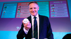Ireland's head coach Joe Schmidt pictured after the 2019 Rugby World Cup pool draw in Kyoto, Japan, yesterday. Photo: Sportsfile