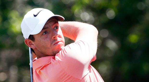 Rory McIlroy plays a shot during yesterday's practice round. Photo: Sam Greenwood/Getty