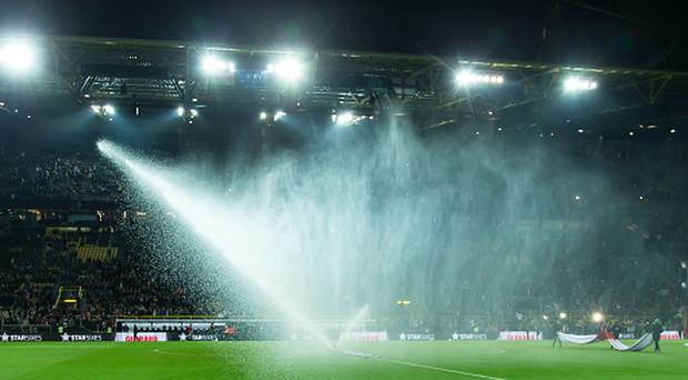 DORTMUND, GERMANY - MARCH 22: Lawn irrigation Signal Iduna Park before the international friendly match between Germany and England at Signal Iduna Park on March 22, 2017 in Dortmund, Germany. (Photo by TF-Images/Getty Images)