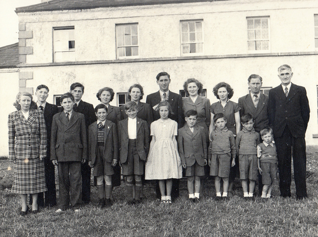 An archive image of the Donnelly family outside their Collegelands home. Photo: BBC