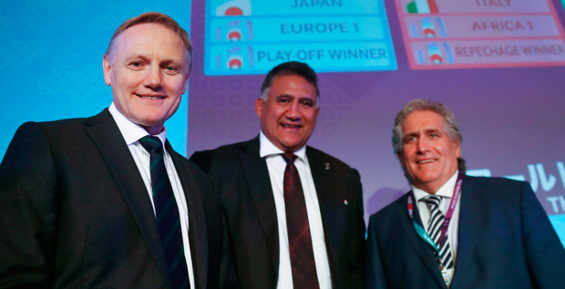 Ireland head coach Joe Schmidt (left) with Jamie Joseph, Head Coach of Japan, and Scott Johnson, Performance Director of Scotland, after the Rugby World Cup 2019 draw in Kyoto. Photo: Dave Rogers/Sportsfile