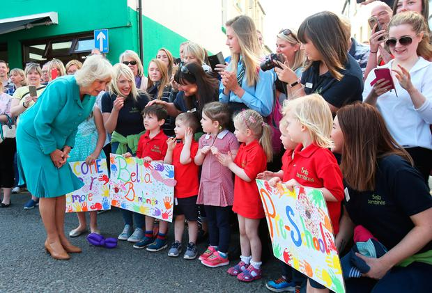 The Duchess of Cornwall meets local nursery school children in Dromore, Co Down. Photo: PA
