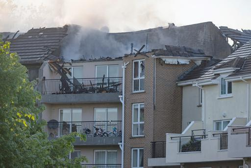 Dublin fire brigade tend to a fire at the Verdemont apartments in Blanchardstown