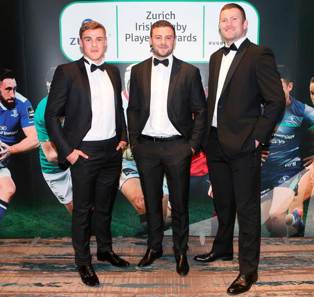 Garry Ringrose, Robbie Henshaw and Donnacha Ryan at the 2017 Zurich Irish Rugby Players' Awards. Picture: Leon Farrell/Photocall Ireland