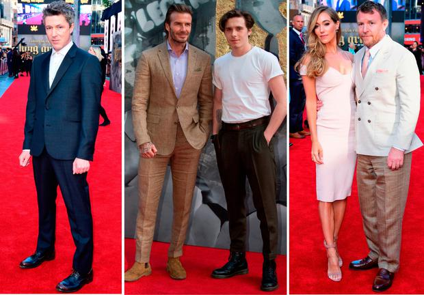 (L to R) Aiden Gillen, David and Brooklyn Beckham and Jacqui Ainsley and Guy Ritchie at the European premiere of King Arthur: Legend of the Sword in London