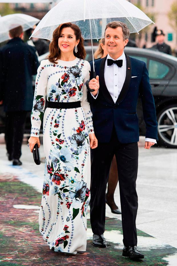 Crown Prince Frederik and Crown Princess Mary of Denmark arrive for a gala dinner at the Operahouse in Oslo on May 10, 2017 in celebration of the 80th bithdays of King Harald of Norway and Queen Sonja of Norway. / AFP PHOTO / NTB scanpix AND NTB Scanpix / Nesvold, Jon Olav / Norway OUTNESVOLD, JON OLAV/AFP/Getty Images
