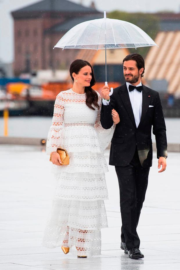 Prince Carl Philip and princess Sofia of Sweden arrive for a gala dinner at the Operahouse in Oslo on May 10, 2017 in celebration of the 80th birthdays of King Harald of Norway and Queen Sonja of Norway. / AFP PHOTO / NTB scanpix AND NTB Scanpix / Nesvold, Jon Olav / Norway OUTNESVOLD, JON OLAV/AFP/Getty Images