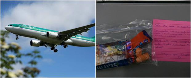An Irish couple bribed their fellow Aer Lingus passengers with treats