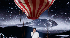 Irish Eurovision entry Brendan Murray is pictured performing during the dress rehersal in the second semi-final of the Eurovision Song contest 2017 in Kyiv. Picture Andres Poveda