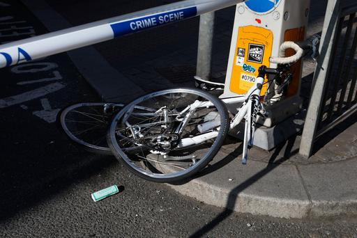 General view of scene of an incident between a recycle truck and a cyclist. Picture: Collins