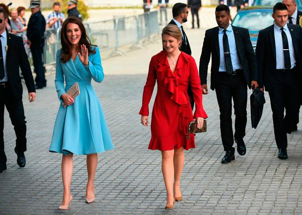 Britain's Catherine, Duchess of Cambridge, (L) arrives with Belgian Countess and wife of Hereditary Grand-Duke of Luxembourg Stephanie de Lannoy during the Celebration of the 150th anniversary of the 1867 Treaty of London in Luxembourg, on May 11, 2017. / AFP PHOTO / JOHN THYSJOHN THYS/AFP/Getty Images