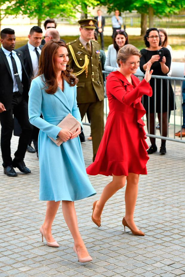 The Duchess of Cambridge arriving with Crown Princess Stephanie at MUDAM (Musze d'Art Moderne) during a day of visits in Luxembourg where she is attending commemorations marking the 150th anniversary 1867 Treaty of London, that confirmed the country's independence and neutrality