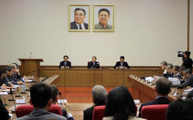 North Korea's Vice Foreign Minister Han Song Ryol, center, speaks during a meeting at the People's Palace of Culture in Pyongyang