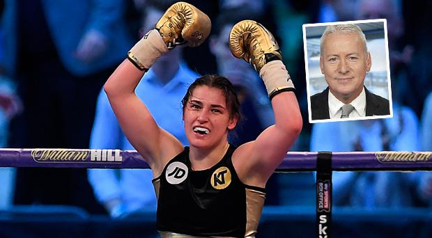 Ireland's Katie Taylor and (inset) Sky presenter Jim White