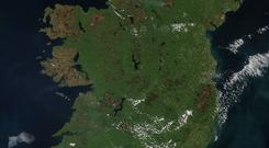 This natural-color satellite image was collected by the Moderate Resolution Imaging Spectroradiometer (MODIS) aboard the Terra satellite on May 08, 2017
