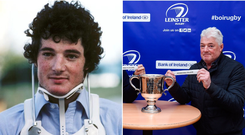 Rodney O'Donnell after his neck injury on the 1980 Lions tour (left) and at this year's Leinster Schools Junior Cup draw.