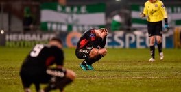 Bohemians players react to their defeat against Shamrock Rovers in March. Photo: Seb Daly/Sportsfile