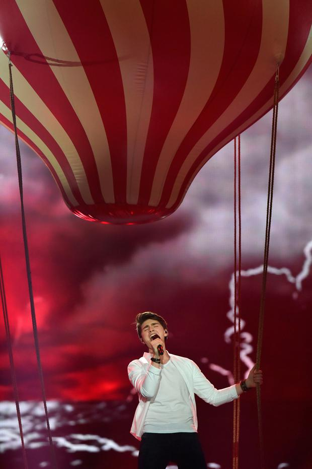 Irish Eurovision entry Brendan Murray performing during the second semi-final in Kiev last night. Photo: Getty Images