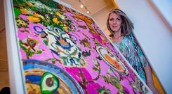 Lucy Doyle at the opening of her exhibition at the Doorway Gallery in Dublin. Picture: Arthur Carron