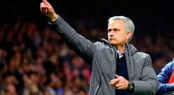 Manchester United's Portuguese manager Jose Mourinho reacts at the final whistle. Photo: Getty