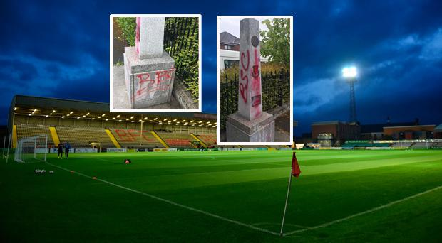 Dalymount Park and (inset) the damage done to the Shamrock Rovers monument