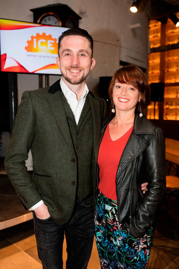 Daniel Cantwell, Ben and Anvil, winner Best Male Entrepreneur and wife Ailbhe at the Inner City Enterprise Awards at the Jameson Distillery Bowe St in Dublin . Picture: Arthur Carron