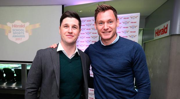 Dublin hurler David Treacy and David Gillick, former Ireland athlete, at the Herald Sports Awards which were held in the Aviva Stadium. Photo: Damien Eagers