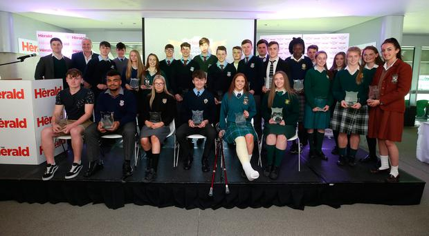 A group picture of all the the Herald Schools Sports stars of the week, Aviva Stadium. Picture credit; Damien Eagers
