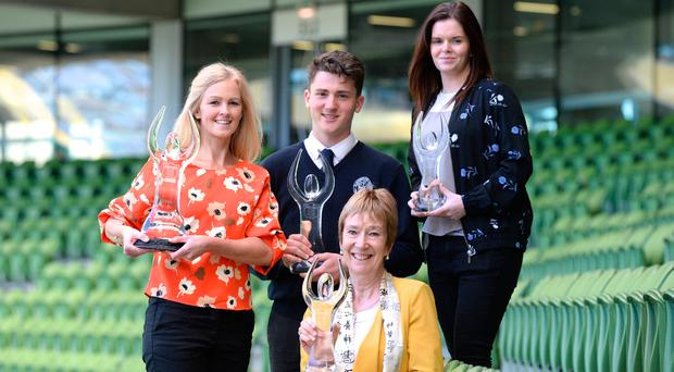 Pictured at the Herald School Sport Awards at the Aviva Stadium were L-r Sports Star of the year Lisa Doogan on behalf of Jessica Ziu of Larkin Community College Dublin City, Team of the Year Ben Walker St.Andrews, Coach of the year Margaret Shorthall Castleknock Community college and School of the Year Mary Fox HS Sutton. Photo: Justin Farrelly.