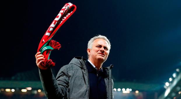 Manchester United manager Jose Mourinho celebrates victory after the UEFA Europa League, Second Leg match at Old Trafford