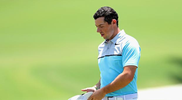 PONTE VEDRA BEACH, FL - MAY 12: Rory McIlroy of Northern Ireland reacts on the ninth green during the second round of the THE PLAYERS Championship at the Stadium course at TPC Sawgrass on May 12, 2017 in Ponte Vedra Beach, Florida. (Photo by Warren Little/Getty Images)