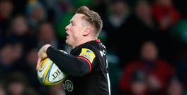 Chris Ashton of Saracens in his 'Ash splash' act of scoring. Photo: David Rogers/Getty Images