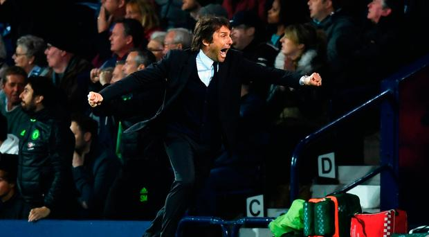 WEST BROMWICH, ENGLAND - MAY 12: Antonio Conte, Manager of Chelsea celebrates his sides first goal during the Premier League match between West Bromwich Albion and Chelsea at The Hawthorns on May 12, 2017 in West Bromwich, England. (Photo by Michael Regan/Getty Images)