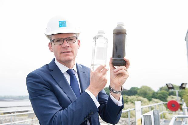 Housing Minister Simon Coveney was in Kinvara yesterday to open the new wastewater treatment plant. Photo: Andrew Downes