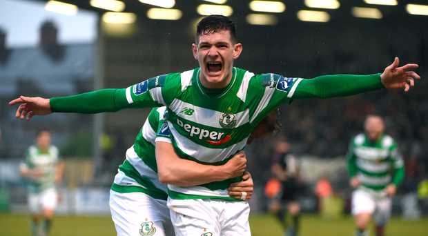 12 May 2017; Trevor Clarke of Shamrock Rovers celebrates after scoring his side's second goal during the SSE Airtricity League Premier Division game between Bohemians and Shamrock Rovers at Dalymount Park in Dublin. Photo by David Maher/Sportsfile